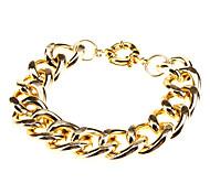 Cut Surface Shiny Thick Aluminum Chain Bracelet