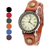 Women's Vintage Case Leather Band Quartz Wrist Watch (Assorted Colors)