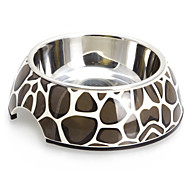 Macadam Pattern Melamine Shell Pet Stainless Steel Food Bowl for Dogs Cats (S-XL)