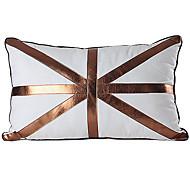 Modern Bandeira Linho Couro fronha decorativa