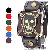 Women's Skull Style Leather Quartz Analog Wrist Watch (Assorted Colors)