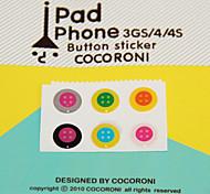 patrón Botón-adhesivo para iphone / ipad / iTouch (pack de 6)