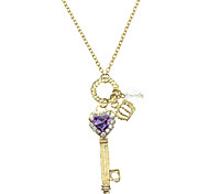 Amethyst Love Golden Crown Key Necklace