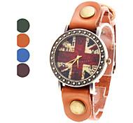 Frauen ist der Union Jack Style Leder Analog Quarz-Armbanduhr (farbig sortiert)