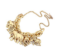 Vintage Gold Plated Alloy Elephant Pattern Necklace