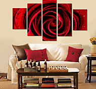Red Floral Design Wall Clock in Canvas 5pcs