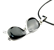 Alloy Eyeglasses Pendant Leather Necklace
