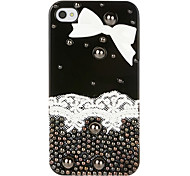 Ornamento bowknot Caso Jóias Lace para iPhone 4/4S