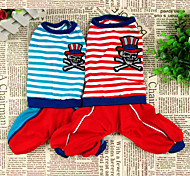Dog Pants Red / Blue Dog Clothes Winter Stripe