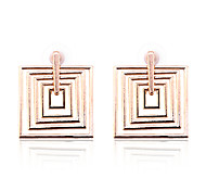 European Style Fashion  Thread Square Gold Plated Earrings