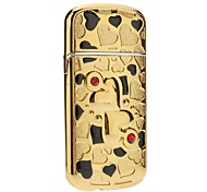 Love Pattern Windproof Gas Lighter (Gold,Silver)