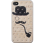 Pipe Moustache Pattern Zircon Back Case for iPhone 4/4S