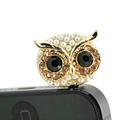 Gold Plated Alloy Zircon Owl Pattern Anti-dust Plug