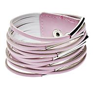 Multiple Belt Type Buttons Leather Bracelet