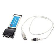 Express Card de 34 mm a 2 puertos FireWire IEEE 1394A expreso Expansion Card fr Laptop