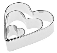 Heart Shaped aço inoxidável cookie cortadores Set (3-Pack)