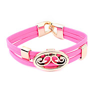 Gold Plated Alloy Musatche Pattern Leather Bracelet(Assorted Colors)