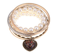 European Style Leopard Print Heart Charm Pearl Bangle Set