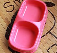 plastica pet food doppia ciotola per cani gatti (colori assortiti, taglie)