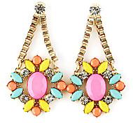 Gold Plated Alloy Zircon Acrylic Flower Pattern Earrings