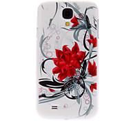 Flores rojas Caso duro del patrón para Samsung i9500 Galaxy S4