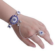 Lureme®Vintage Alloy Resin Eye Pattern Bracelet with Ring