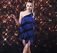 Dancer Shower Tassel Paillette One-shoulder Latin Dress Women's Costume
