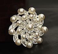 Full-perla broche de la flor del crisantemo