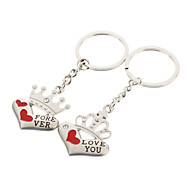 A Pair Heart Shaped Crown Style Lover Keychain