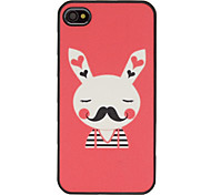 Cute Blushing Mr. Bunny with Mustache Pattern Shining Frosted PC Hard Case for iPhone 4/4S