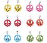 lureme®colorful Бирюзовый серьги антивоенное знак мира подвеска (Random Color)