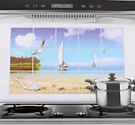 75x45cm Sea & Sail Pattern Oil-Proof Water-Proof Kitchen Wall Sticker