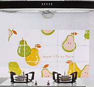 75x45cm Cartoon Poire modèle résistant à l'huile imperméable à l'eau chaude Preuve autocollant de mur de cuisine