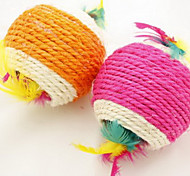 Cute Cotton Sisal Ball Toy with Feathers for Pets Dogs (Assorted Colors, 8x8x8cm)