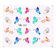 5PCS New Water Transfer Printing Nail Art Stickers Papillons Series (couleurs assorties)
