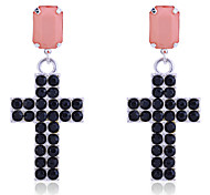 Korean Fashion Full Of Crystals Cross Earrings
