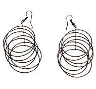 Black Large Ring Pendant Earrings