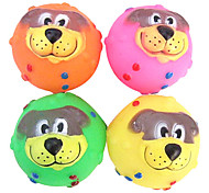 Cabo Cute Dog Face Rubber Squeaking Toy for Pets Dogs (Assorted Colors)