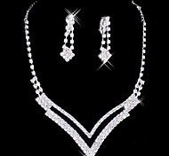Great Alloy Silver Plated With Rhinestone Wedding Jewelry Set