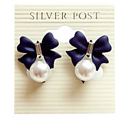 "Korean version of the "" blue color "" import sweet diamond bow pearl pendant earrings (random color)"