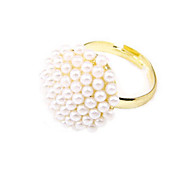 Korean Jewelry Noble And Elegant Mushroom White Pearl Ring