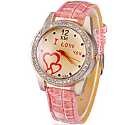 Women's Diamante I LOVE YOU Pattern Dial PU Band Quartz Analog Wrist Watch (Assorted Colors)