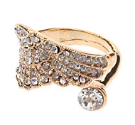 Crystal Angel Wings Open Gold Ring