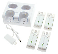 4 2800mAh Battery Packs+ Remote Controller Charger Dock Cradle Station for Nintendo Wii