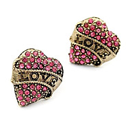 Korean version of sweet temperament diamond earrings fashion love peach heart love earrings E102