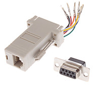DB9 Male to RJ-45 Female Modular Adaptor White