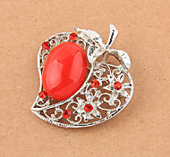 Silver Plated Resin Apple Shape Brooch(Random Color)