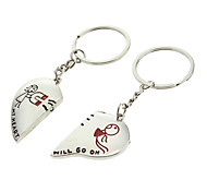 A Pair Magnet Heart Shaped Lovers Keychains