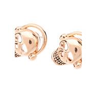 Rose Gold Skull Earphone Stud Earrings