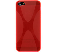 Solid Color X Pattern TPU Soft Case for iPhone 5 (Optional Colors)